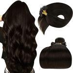 Extension con cheratina per capelli castani per capelli mossi LaaVoo