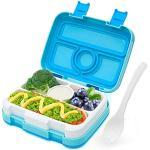 LAKIND Lunch Box, Porta Pranzo, Kids Bento Box con 5 Scomparti e Posate, Adatto a Microonde e Lavastoviglie (4 Scomparti Blu)