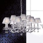Lampadario Design di cristallo paralume stoffa 1