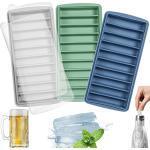 LessMo vaschetta del ghiaccio, silicone, con coperchio, ideale per lo sport e bottiglie d'acqua, 10 cavità (set di 3, multicolori)