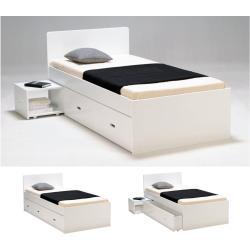 Letto singolo con comodino e cassetto 90 x 190 cm Laccato bianco - PACOME