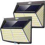 Luce Solare LED Esterno, [ 2 Pezzi] 228 LED Faretti Solari a Led da Esterno 3 Modalità Lampada da Esterno con Sensore di Movimento IP65 Impermeabile Luci Solari per Giardino Parete