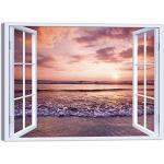 LuxHomeDecor Quadro Finestra Spiaggia Mare Tramonto 100x75 cm Stampa su Tela con Telaio in Legno Arredamento Arte Arredo Moderno