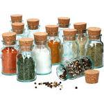 MamboCat - Set di 12 barattoli portaspezie in vetro trasparente con tappo in sughero, per spezie, sale, pepe, erbe aromatiche, vasetti in sughero da riempire, 125 ml.