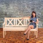 Mendler Panca Copenhagen con schienale legno chiaro per ambienti esterni