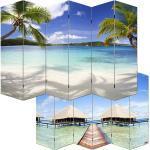 Mendler Paravento divisore doppia immagine 6 pannelli M68 180x240cm spiaggia