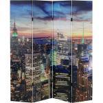 Mendler Paravento LED con timer legno con stampa in tessuto pieghevole New York 4 pannelli