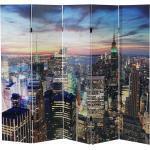 Mendler Paravento LED con timer legno con stampa in tessuto pieghevole New York 5 pannelli