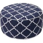 Mendler Pouf poggiapiedi gonfiabile da esterno HWC-G31 spun poly 55x55x29cm bianco blu