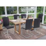 Mendler Set 6x sedie sala da pranzo design moderno HWC-F36 struttura a slitta ecopelle nero
