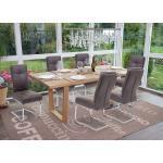 Mendler Set 6x sedie sala pranzo moderno HWC-G56 struttura a slitta tessuto scamosciato grigio