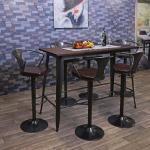Mendler Tavolo alto design industriale HWC-H10 acciaio verniciato legno di olmo FSC marrone