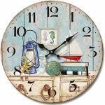 Molhome Vintage Orologio da Parete, Legno,, 34 X 34 X 4 Cm, multicolore