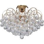 MW-Light 232016406 Lampadario da Soffitto Metallo Oro Lucido Cristallo Stile Moderno 6 luci x 60W E14