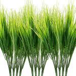 Omldggr - 12 pacchetti di piante artificiali in plastica, erba, verde, cespugli di grano in plastica, per interni ed esterni, decorazione da giardino