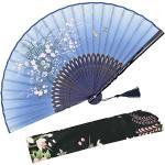 """OMyTea - Ventaglio manuale pieghevole """"Grassflower"""", da donna, in stile rétro vintage cinese/giapponese, con custodia in tessuto per proteggerlo, Blue"""