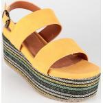 Sandali larghezza E gialli con tacco da 5 cm a 7 cm per l'estate con zeppa per Donna Onyx