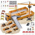 OR OR TU Camion da Cantiere Giocattolo per Bambini con Escavatore Costruzione Torre Gru Effetti di Musica Luce Camion Betoniera Veicoli da Cantiere Regalo di Compleanno per 3 4 5 6+ Anni