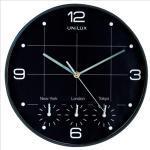 Orologio da parete 4 fusi on time - diametro 30,5 cm - nero - Unilux Quantita min. 1
