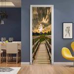 oxiang Adesivi per Porte Interne 3D Ponte di Legno Adesivo Murale Decorazione Domestica Adesivo Camera da Letto Soggiorno Poster Rimovibile Adesivi per Porte -95x215cm