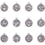 PandaHall 24pcs Tibetano 12 costellazioni Pendenti 12mm Argento Antico Piatto Rotondo Zodiaco Charms in Lega di Metallo Portafortuna per Fare Gioielli