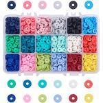 PandaHall 3600pcs 8mm Perline Rotonde Piatte Perline Fatte a Mano in Argilla polimerica per Orecchini Braccialetto Collana Gioielli Fai da Te Fabbricazione (18 Colori)