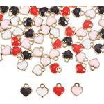 PandaHall 80pcs 4 Colori Pendenti smaltati a Forma di Cuore in Lega Leggera Oro amuleti per la creazione di Gioielli per Valentine