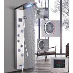 Pannello doccia a LED in acciaio inox con indicatore di temperatura e 4 getti massaggianti, colore: nichel spazzolato