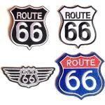 Patch Toppa Biker Route 66 moto-ciclista applicazioni termoadesive ricamate jeans cucito vestiti stoffa termoadesiva 4 pezzi