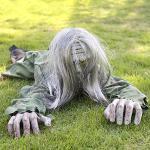 Pauroso Halloween Zombie Strisciante, 41 Pollici Fantasma Spaventoso Animato Con Il Suono E LED Eyes, Puntelli Della Casa Stregata Decorazioni Da Giardino, Funziona A Batteria(Non Incluso),B
