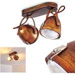 Plafoniera Butikon, in metallo in marrone ruggine/bianco, a 2 luci con faretti orientabili, attacco lampadine GU10 max. 7 Watt, stile retrò/vintage, adatta per lampadine a LED
