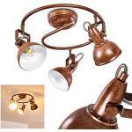 Plafoniera Tina, a spirale in metallo color ruggine/bianco, 3 luci, con faretti orientabili, 3 lampadine E14 max. 40 Watt, stile retrò/vintage, adatta per lampadine a LED