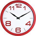 Premier Housewares 2200456 Orologio da Parete in Plastico Rosso, Viso Bianco