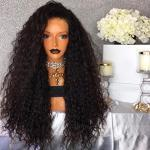 qd-tizer nero Loose Curly Wavy synthetic Lace Front WIG 180Density Glueless sintetiche parrucche per moda donna 66cm