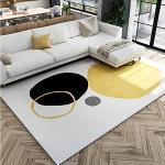 QJWY-Home Designer Tappeto La Zona Tappeti Soggiorno/Camera da Letto Tappetini Antiscivolo Morbido Chiaro Irregolare Rotondo Oro Giallo Nero bianco-160cmx280cm (5ft3 x9ft3)