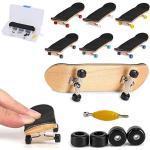 QNFY Finger Skateboard, Mini Fingerboard DIY Assemblare Mini Skateboard con Le Dita Giocattolo Skatepark per Bambini Compleanno Regalo di Natale (Nero)