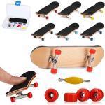 QNFY Finger Skateboard, Mini Fingerboard DIY Assemblare Mini Skateboard con Le Dita Giocattolo Skatepark per Bambini Compleanno Regalo di Natale (Rosso)