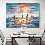Quadri Moderni Barca a Vela Astratta sul Mare Pittura Olio Pianting Poster Stampe murali su Tela Immagini per Soggiorno Decorazione Domestica 60x80 cm x 1 pz Senza Cornice