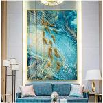 Quadri Moderni Pittura astratta su tela con pesci dorati Decorazioni in marmo nordico Stampa giapponese Poster in oro grande Poster da parete per soggiorno Tableaux moderni 19,7x27,6 pollici (50x70 c