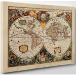 Quadro su Tela - INTELAIATO - Antica Mappa 1646 Mondo - World Map - Cartina Geografica - 50x70cm - Spessore 2cm