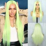 Rainbow Snow #60 Parrucca sintetica biondo platino verde chiaro mista, capelli futura resistenti al calore, capelli lunghi lisci e verdi, sintetici, per donne