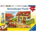 Ravensburger Italy-I lavori alla Fattoria 2 Puzzle da 12 Pezzi, Multicolore, 07560