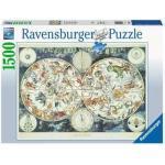 Ravensburger Puzzle Mappa del Mondo di Animali Fantastici 1500 Pezzi