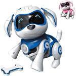 RCTecnic - Robots JUGUETECNIC Rock Il Cane Robot per Bambini interattivo Mostra Emozioni e Movimento Abbaia e Gioca con Il Suo Osso Batteria Ricaricabile e Cavo USB