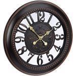 Relaxdays 10022002_93 Orologio da Parete per Cucina XL Stile Vintage, Analogico, Silenzioso dal Design Romantico, Diametro 56 cm Marrone