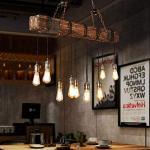 Retro Lampada A Sospensione Legno Industriale Loft Bar Appeso Lampada Soggiorno Camera Cucina Luci Pendenti in Metallo E27 8 Regolabile in Altezza Lampadario Metallo Dell'annata Paralume Ciondolo
