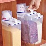 Riso Contenitori, plastica Alimentare cereale Farina Dispenser, Portatili Leak Proof Cereali e Secco Contenitori con misurazione Cup, Cucina Storage Box Adatto per Cereali Farina