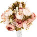 RIsxffp - Pianta artificiale, ramo con 13 fiori di seta, peonie, decorazione per matrimonio e per la casa rosa chiaro