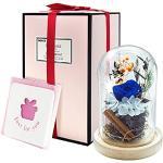 Rosa Eterna, AOKKR Rosa Eterna Rosso Passione con Luci LED, Blu Rose Stabilizzate con Nastro e Bigliettino per Festa della Mamma Anniversario Matrimonio Compleanno Regalo Romantici per Lei