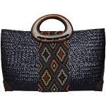 Rotfuchs - Borsa da donna in paglia, borsa per la spesa, borsa da spiaggia, realizzata a mano in cannuccia (Marine)